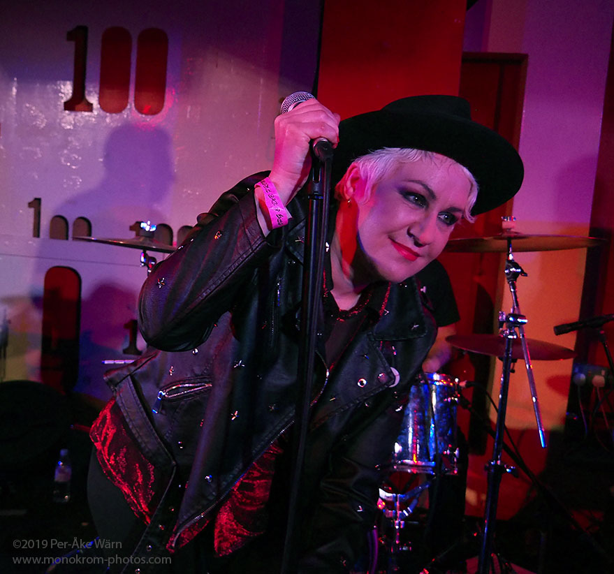 Pauline Murray of Penetration at London's 100 Club 13 July 2019